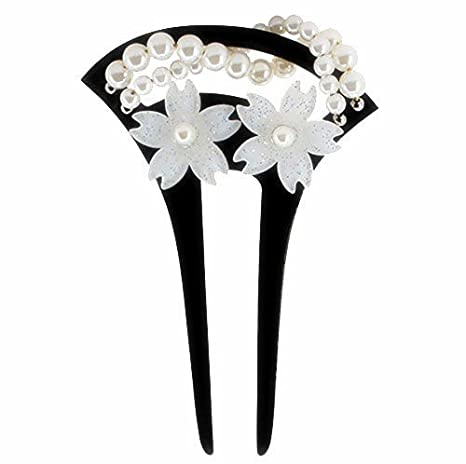 Bridal Acrylic Two-Prang Hair Fork Comb Stick Crafted with Cherry Blossom Flower