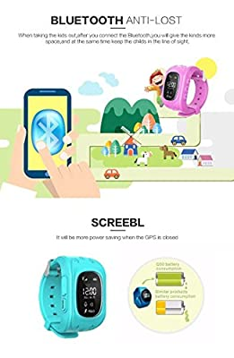 Smart Watch, HALOFUN Q50 Wrist Watch with Anti-lost GPS Tracker SOS Call Location Finder SIM Card Slot Remote Monitor Pedometer Smart Watch for Kids (Blue)