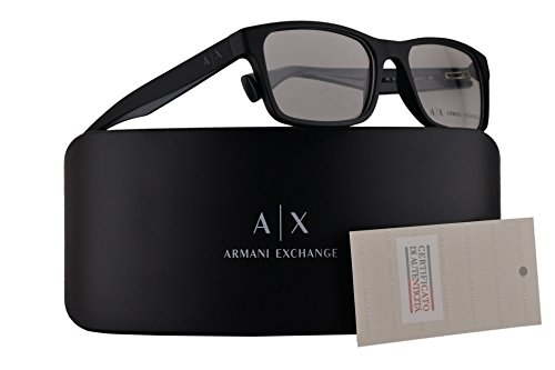 Armani Exchange AX3038 Eyeglasses 54-17-140 Matte Black w/Clear Demo Lens 8199 AX - Armani Clear Glasses Lens