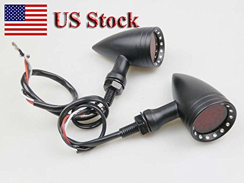 Shadow Billet - US STOCK !! Motorcycle Black Red Universal 20 LED Billet Turn Signal Lights for Honda Shadow VT750C VTX1300S Yamaha Suzuki Kawasaki Vulcan 1500 1700 Harley Sporster Dyna Bobber Electra Glide Road King