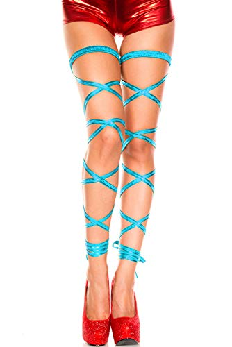 (Naimo Women's Sexy Metallic Exotic Leg Wraps for Raves, Dancing, Music Festivals (Light blue))