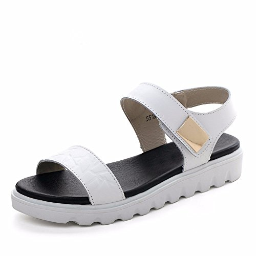 No. 55 Shoes Estate Donna Pendenza con la Punta Aperta Sandali Scarpe Casual Fondo Spesso Ladies Sandali,US8/EU39/UK6/CN39,5518-Bianco