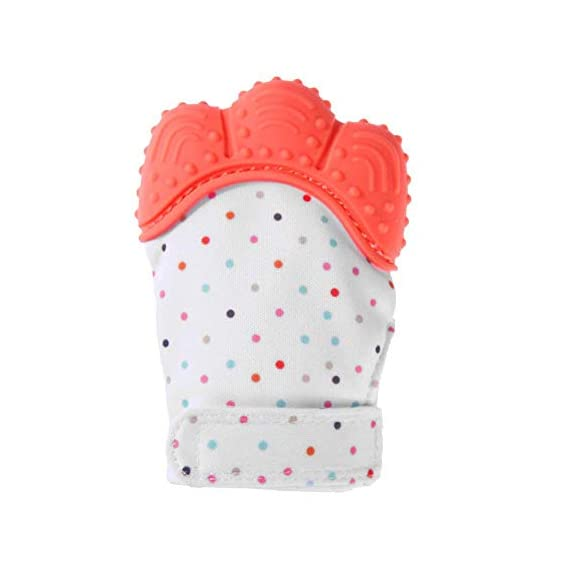 DaKos Teething Mitten, Soft Food-Grade Silicone Teether Mitten Glove Handy Teething Mit Toy for Self-Soothing, BPA-Free, for 3 18 Months Infants (1 Piece) Orange