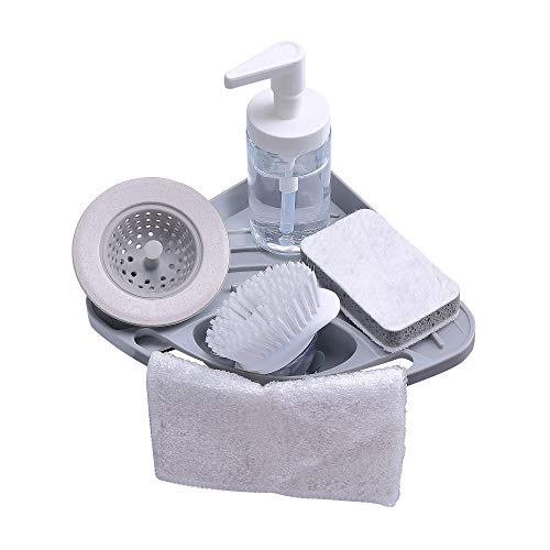 Kitchen sink caddy sponge holder scratcher holder cleaning brush holder sink organizer(Grey) (Kitchen Corner Sink)