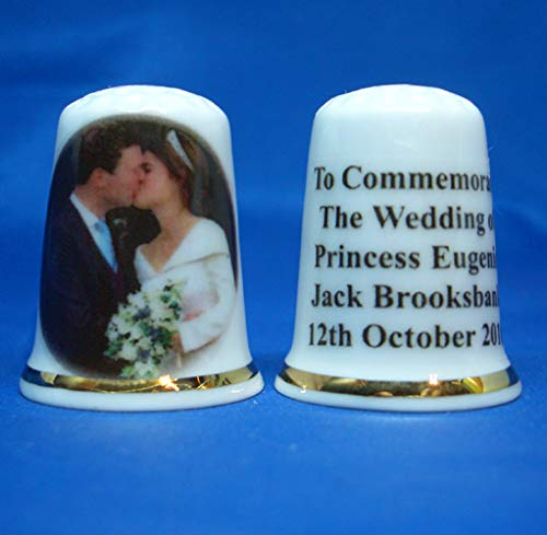 Birchcroft Porcelain China Collectable Thimble - Princess Eugenie Wedding Box Birchcroft China