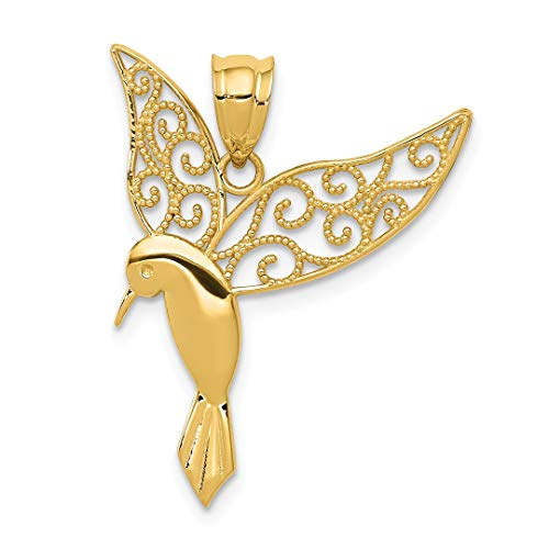 14k Yellow Gold Hummingbird Pendant Charm Necklace Bird Fine Jewelry For Women Gift Set