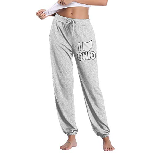 - Women's I Love Ohio Sweatpants with Pockets Soft Drawstring Gray
