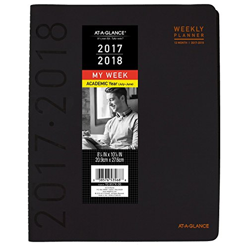 """AT-A-GLANCE Academic Weekly / Monthly Appointment Book / Planner, July 2017 - June 2018, 8-1/4"""" x 10-7/8"""", Contemporary, Black (70957X05)"""