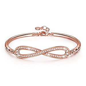 LadyColour Endless Love Bangle Bracelets Swarovski Crystals Rose Gold Fashion Jewelry for Women Christmas Gifts Ideas 2017 Xmas Gifts for Mom Grandma Birhtday Gifts for Wife Anniversary Gifts for Her