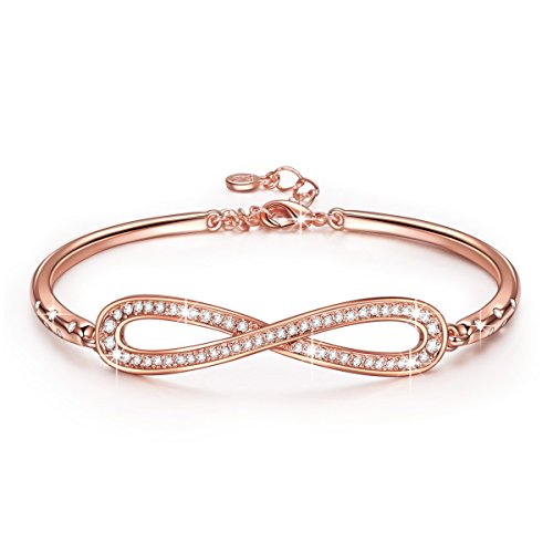 LadyColour Endless Love Bangle Bracelets Swarovski Crystals Rose Gold Fashion Jewelry for Women Christmas Gifts Ideas 2017 Xmas Gifts for Mom Grandma Birhtday Gifts for Wife Anniversary Gifts for Her Anniversary Gifts Ideas For Her