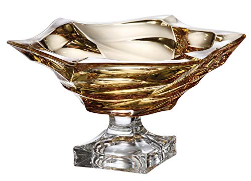 Czech Bohemian Crystal Glass Footed Shallow Bowl 13''-Dia Amber-Yellow Decorative Gift Elegant ''Flamenco'' Design Gorgeous Centerpiece Classic Crystal Glass ()