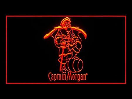 Lamazo Cartel de luz LED con barra de ron con especias, Captain Morgan