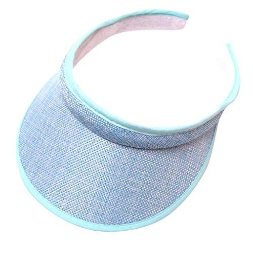 Dressin Sun Visor Hats Summer Cap Plastic UV Protection Adjustable Headband for Outdoor Golf Beach Hiking Sky Blue