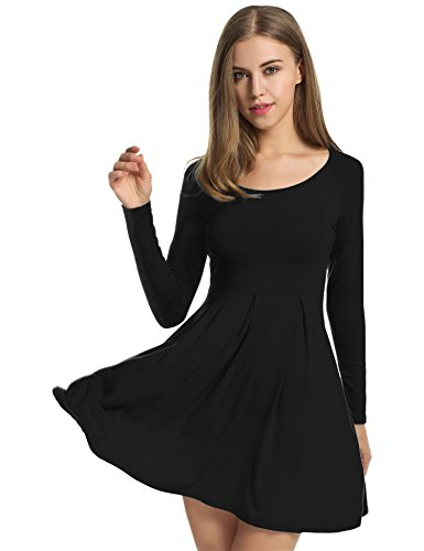 Meaneor Women's Scoop Neck Fit and Flare Floral Casual Dress Black XL (Raglan Flare Dress)