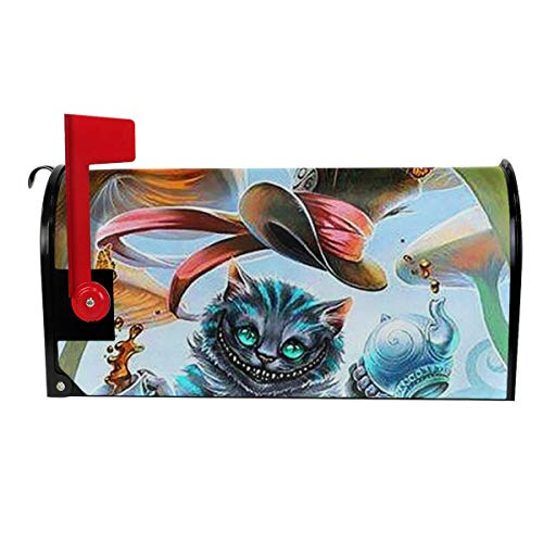 Fashion Letter Box Cover Alice in Wonderland Cat and Mushroom Painting Graden Outdoor Decorations Magnetic Mailbox Cover - Tow Standard Size -