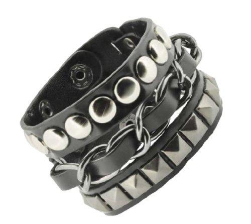 Leather Spike Stud Bracelet (Wide Black PU Leather Metal Chain Layer Bracelet, Punk Bracelet by Mandala Crafts)