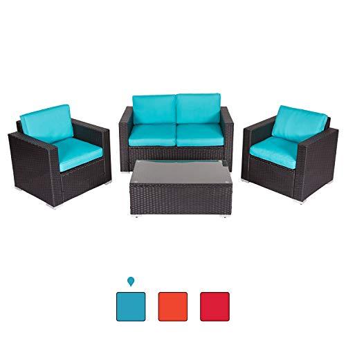 Peach Tree 4 PCs Outdoor Patio PE Rattan Wicker Sofa Sectional Furniture Set with Tea Table