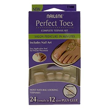 Amazon.com : Nailene Perfect Toes Short Length Includes Nail Art 77460 : False Nails : Beauty