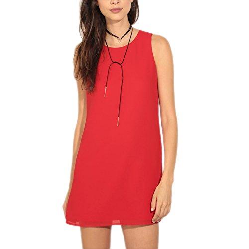 Bang-pa Fashion Dress Women Dress Plus Size Causal Women Straight Chic Evening Party Chiffon Dresses Zippers vestidos Red - Malls Pa Outlet