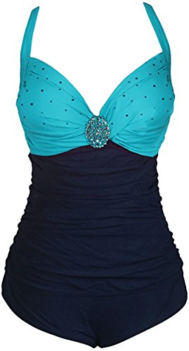 HENGJIA Women's Plus Size Swimwear Elegant Swimsuit One Piece Ruched Backless Monokini Turquoise Blue - Eyeglasses Tween