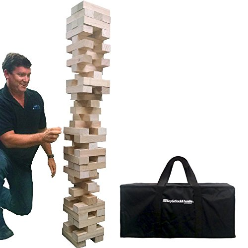 EasyGO Giant Stack & Tumble Giant Wood Stacking & Tumble Tower Blocks Game Includes Heavy Duty Duffle Carry Bag, XX- Large,  Stacks to Over 5 feet Tall Giant Tumble Tower
