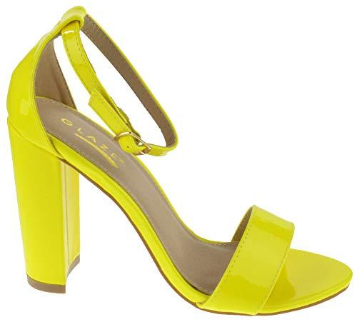 Glaze Lily 1 Womens Chunky Heel Ankle Buckle Single Band Open Toe Platform Dress Sandals