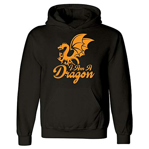 Dragon Hoodie - I am A - Animal Themed Gifts Black