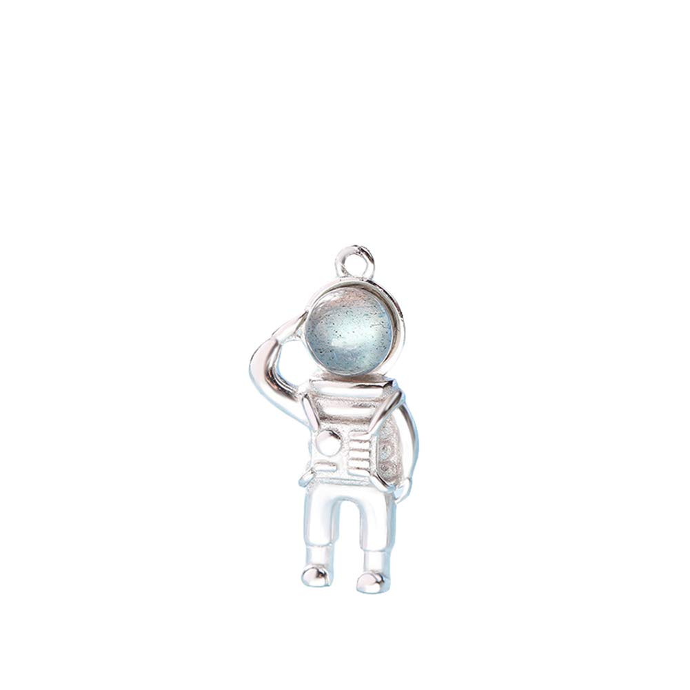 Quietcloud Necklaces Ideal Gift for Mothers Day Fashion Astronaut Faux Moonstone Pendant Silver Plated Couple Necklace Jewelry