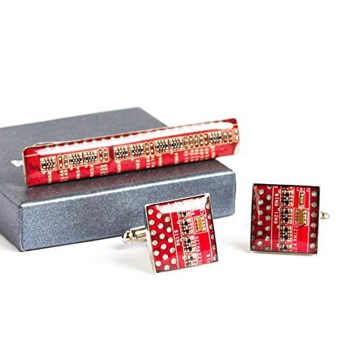 Red Unique Cufflinks and Tie Clip set, recycled circuit board jewelry for men