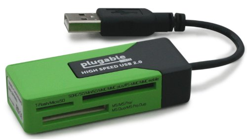 Plugable USB 2.0 Flash Memory Card Reader for Windows, Mac, Linux, and Certain Android Systems - Supports SD cards (SDHC, Mini SD, Micro SD / T-Flash, etc) and MS, MS Pro Duo, MMC, More