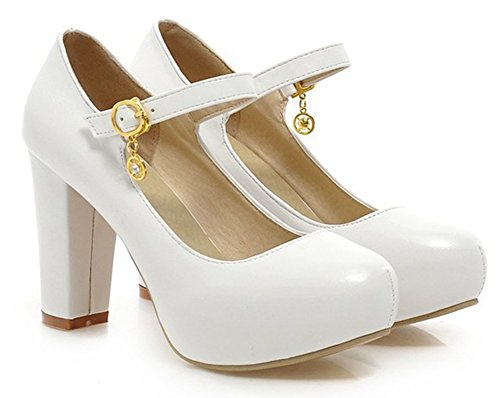 Aisun Womens Elegant Dressy Round Toe Buckled Chunky High Heels Hidden Platform Pumps Shoes With Ankle Strap White raNZZC6O