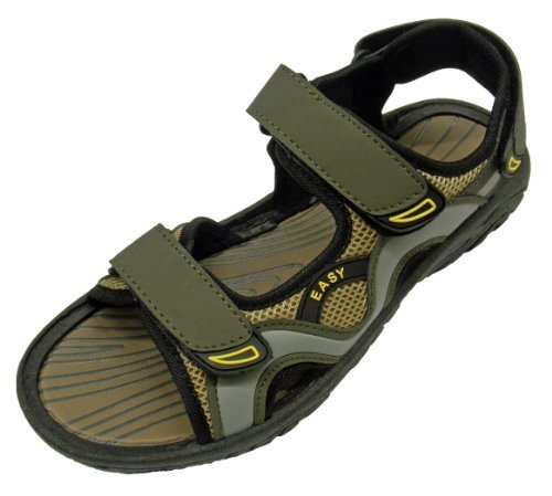 Easy USA Mens Velcro Sandal- Olive/Grey- 7 from Easy USA