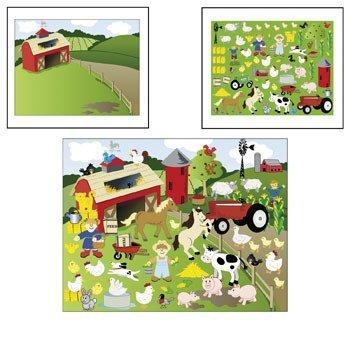 Make-a-farm Sticker Scenes - 12 Sticker Sheets - 12 Background Sheets (1-Pack)