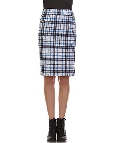 Bold And Beautiful Women's Knee Length Pencil Skirt - High Waisted Midi - Office Wear - Plus and Regular Size - Made in USA (Small, Navy Gray - Skirt Pencil Flannel