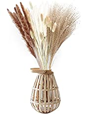 40/60 Pcs Dried Pampas Grass, Natural Reed Grass Plume, Dried Bouquet of Flowers Arrangements for Boho Home Wedding Kitchen Office Décor