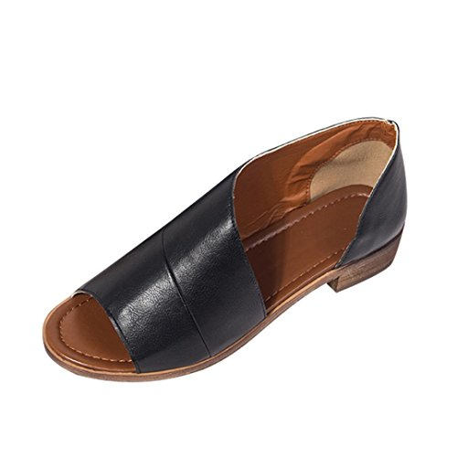 Summer Sandals,Women Casual Pointed Toe Low Heel Roman Shoes Size 5.5-9 (Black, US:7.5)