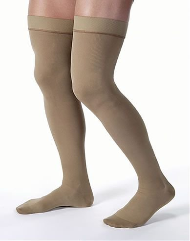Jobst for Men Ribbed THIGH HIGH Moderate Compression 15-20mmHg S, Khaki