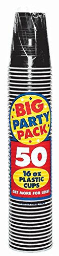 Good Halloween Costumes Short Notice (Amscan Big Party Pack 50 Count Plastic Cups, 16-Ounce, Black)