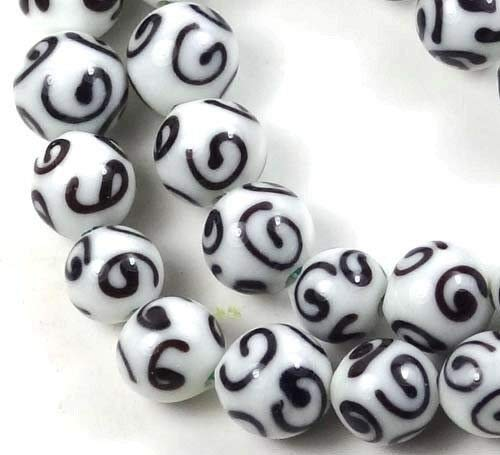 Beads - Bead Jewelry - Beads for Women Men - Cute - Lampwork Handmade Glass Black White Scroll 10 pcs