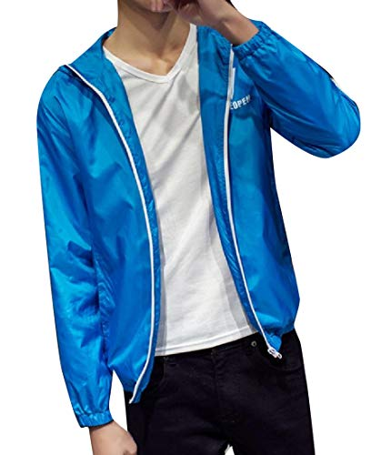 Windproof Casual Jacket Signature Howme Men Blue Hood Slim with Rain Lake UZPwAqn