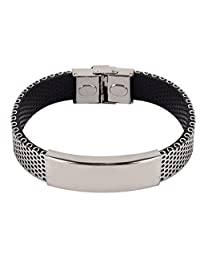 Silver Tone Stainless Steel Black PU Cuff Bangle Bracelet Wristband for Men