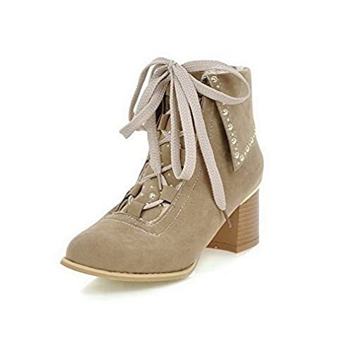 Women's Lace Up Round Closed Toe Kitten Heels Imitated Suede Low Top Boots