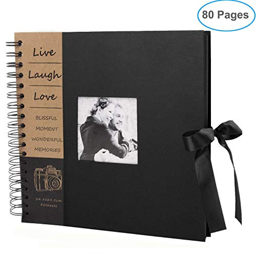 80 Pages DIY Scrapbook Album Craft Paper Wedding and Anniversary Photo Album with Scrapbook Kit for Wedding Guest Book