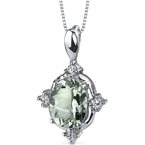 - Green Amethyst Pendant Necklace Sterling Silver 1.50 Carats CZ Accents