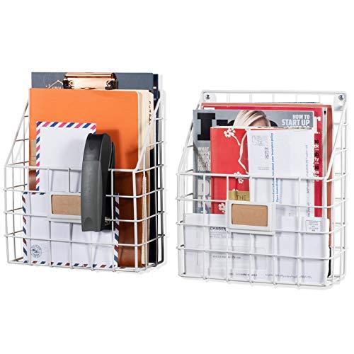Wall35 Rivista File Holder - Metal Mesh Wire Shelf - Hanging Folder Mail Document Organizer - Office Storage - Rustic Industrial ()