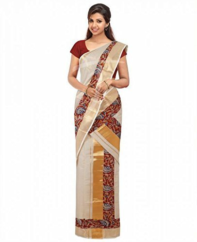 cd284493b67be Women ethnic kuthampully Kerala set mundu with kalamkari printed border  with matching blouse piece  Amazon.in  Clothing   Accessories
