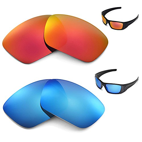 New Walleva Polarized Ice Blue + Fire Red Lenses For Oakley Fuel Cell by Walleva