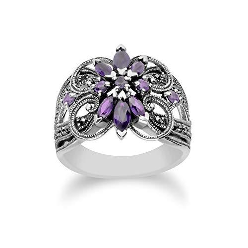 Gemondo 925 Sterling Silver Amethyst & Marcasite Art Nouveau Ring