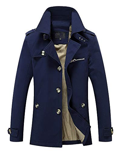 Long Mens AnyuA Jacket Military Outerwear Warm Dark Slim Lightweight Sleeve Coats Multi Blue Fit Pockets RpqIgwq