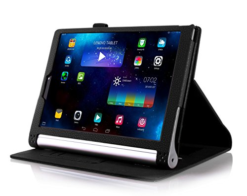 IVSO Lenovo YOGA Tablet 2 8,0 Zoll Hülle Tasche Case Schutzhülle Cover - mit Standfunction Leder Folio Schutzhülle NUR geeignet für Lenovo YOGA Tablet 2 (8,0 Zoll FHD IPS) Tablet-PC ,Schwarz